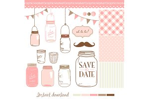 14 Hand Drawn Mason Jars