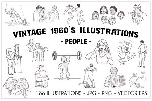 Vintage 1960's Illustrations- People