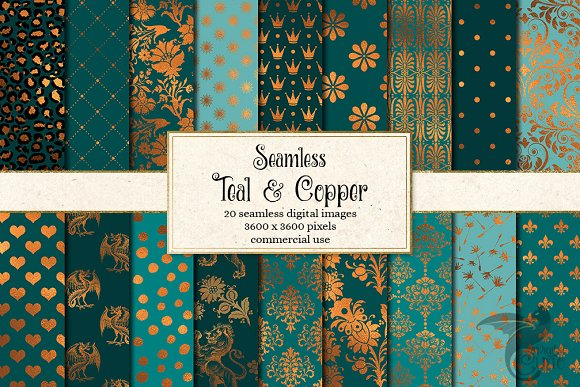 Teal And Copper Digital Paper