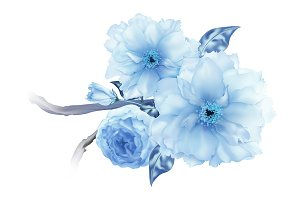3D blue sakura cherry flower branch