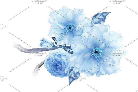3D Blue Sakura Cherry Flower Branch