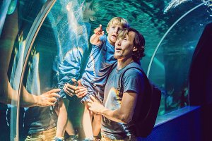 Father and son looking at fish in a tunnel aquarium
