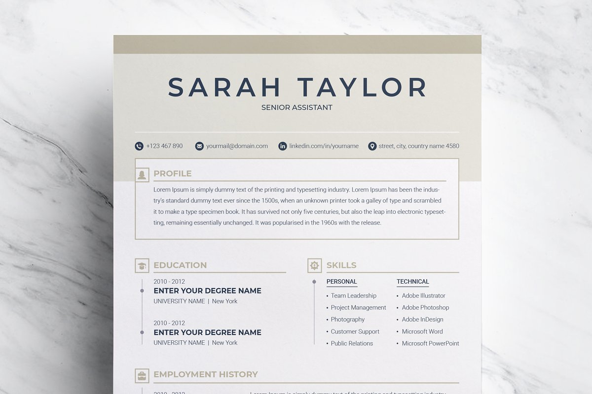 Resume Template with Cover Letter ~ Resume Templates ~ Creative Market