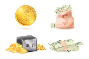 Golden Coin with Dollar Sign, Sack Full Money Safe