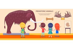 Prehistoric Animals Exhibition with Huge Mammoth