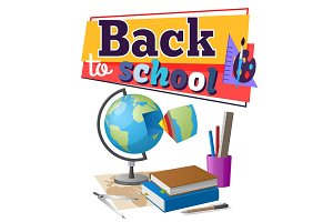Back to School Sticker with Educational Supplies