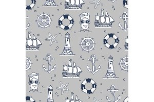 Seamless Pattern Marine Element in Black and White
