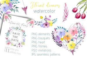 Watercolor set with floral elements