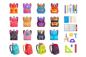 Colorful Modern Rucksacks and School Supplies Set