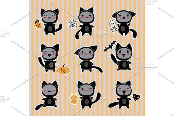 Kawaii Collection Of Halloween-related Objects And Creatures