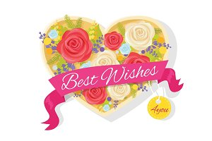 Best Wishes for You Poster Vector Illustration