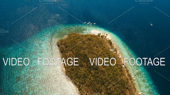 Aerial View Beautiful Beach On A Tropical Island Banana Philippines