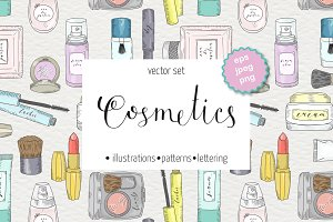 Сosmetics and skin care set. Makeup.