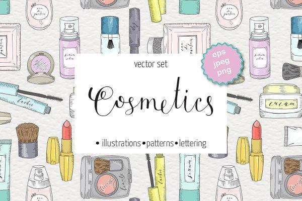 Сosmetics and skin care set. Makeup…