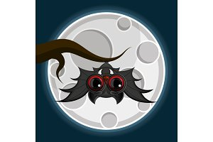 vampire bat hanging from a spooky tree with a full moon in the background