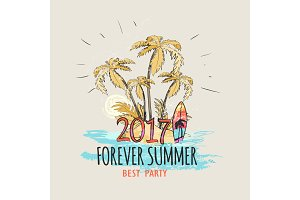 Forever Summer 2017 Palms on beach Graphic Poster