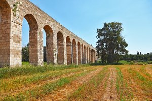 Roman antique aqueduct in Israel