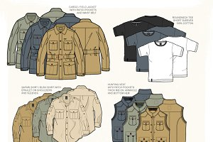 Men Hunting Clothing Templates