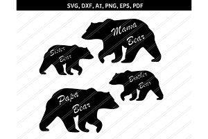 Bear family svg,dxf,eps,ai,png,pdf