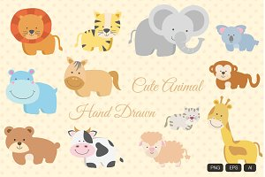 12 Animal Hand Drawn