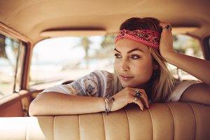 Beautiful woman in a car