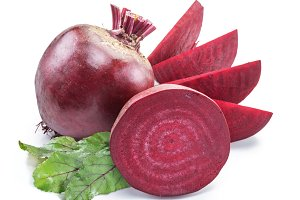Red beet or beetroot on white