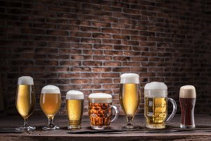 Different glasses of beer