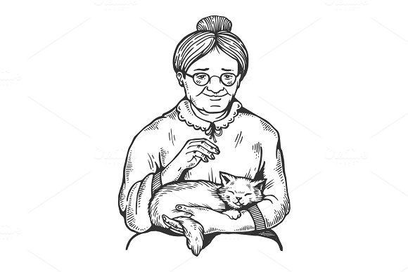 Old Woman And Cat Engraving Vector Illustration