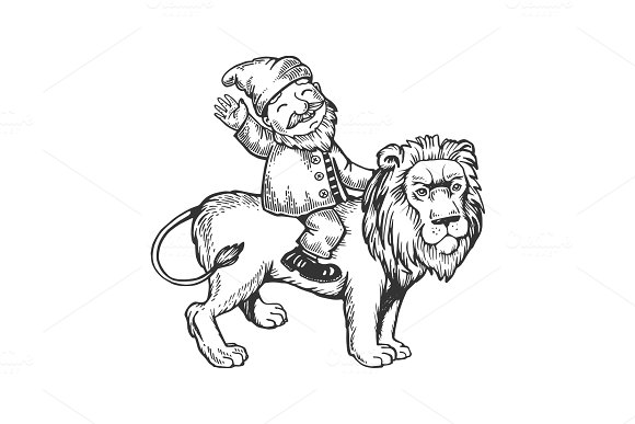 Gnome On Lion Engraving Vector Illustration