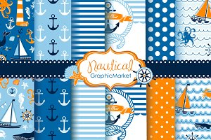 10 Nautical digital papers + 2 cards