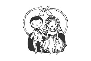 Dolls engraving vector illustration