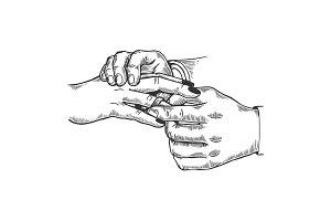 Wedding symbol engraving vector illustration