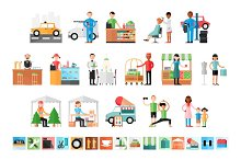 Business types icons & illustrations