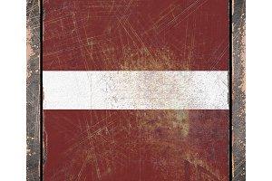 Latvia rusty flag