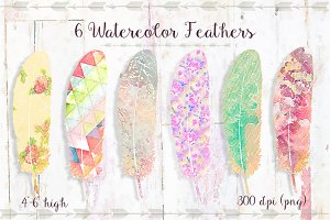 6 Watercolor Feathers - Set 2