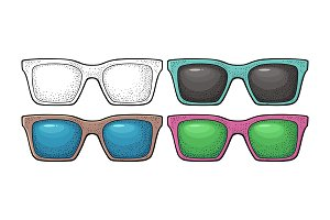 Collection of different color of retro sunglasses. Vintage vector engraving