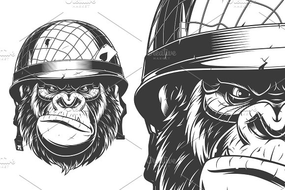 Gorilla In The Military Helmet