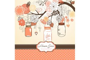 Hand Drawn Mason Jars, card template