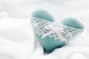 Handmade plush turquoise heart