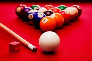 Cue & color balls on billiards pool