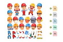 Set of Cartoon Worker Character