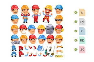Set of Cartoon Worker Character