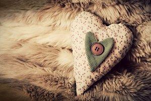 Vintage handmade plush heart
