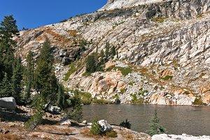 mountain lake on pass Tioga