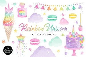 Rainbow Unicorn Graphics & Patterns