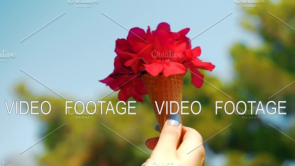 Red summer bouquet in waffle cone in Graphics