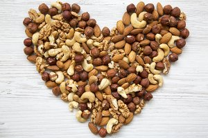 Pattern of nuts in heart form.