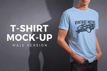Mens Crew Neck T-shirt Mock-up