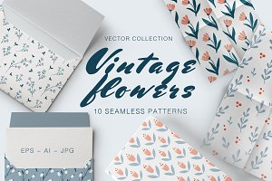 VINTAGE FLOWERS 10 seamless patterns