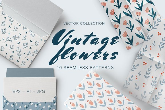VINTAGE FLOWERS 10 Seamless Patterns